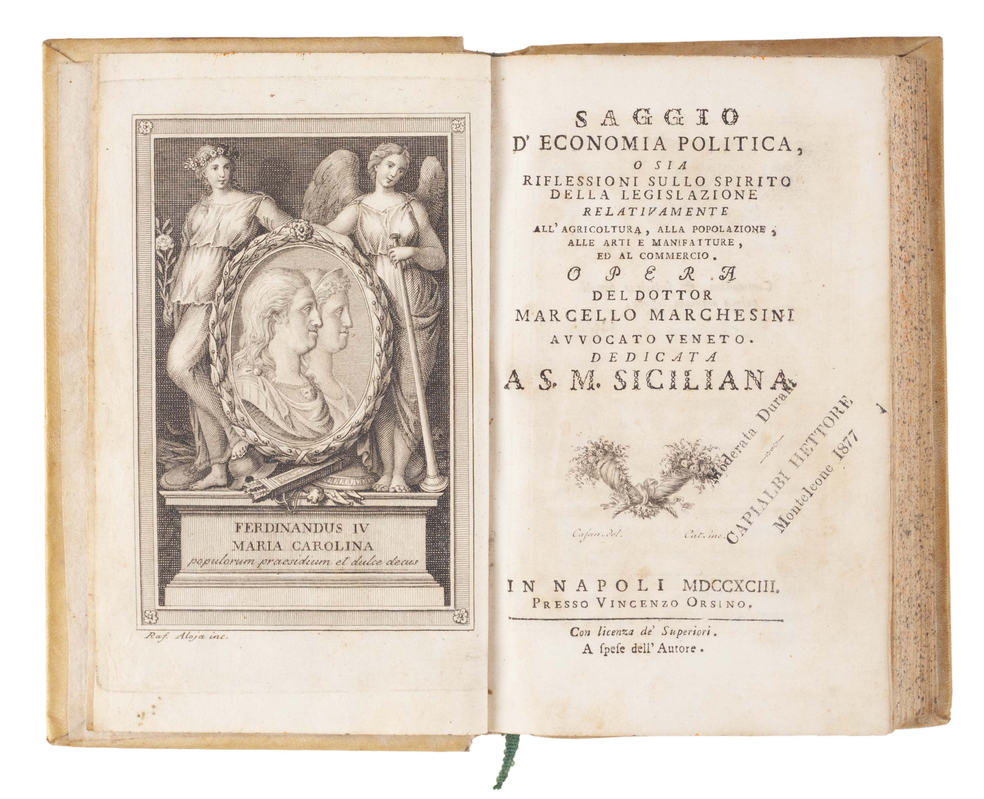 Saggio d'economia politica; o sia, Riflessioni sullo spirito della legislazione relativamente all'agricoltura, alla popolazione, alle arti e manifatture, ed al commercio.